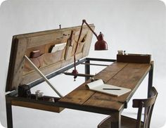 Beautiful Wooden Desk... Hydraulic lift back with under the top storage... Ingenious!