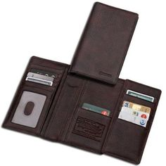 Beretta Trifold Long Wallet by Beretta. $54.99. 100% leather checkbook cover and credit card holder, slips easily in the breast pocket. Three compartment with 18 pockets for cards. Additional 5 compartments for papers and money. Measures 4x7x1 inch.