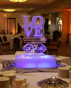 LOVE Ice Buffet Sculpture by Carving Ice at Wizard Connection - perfect for any wedding day! Wedding 2017, Wedding Themes, Wedding Events, Dream Wedding, Wedding Decorations, Wedding Day, Ice Sculpture Wedding, Corporate Event Planner, Ice Art