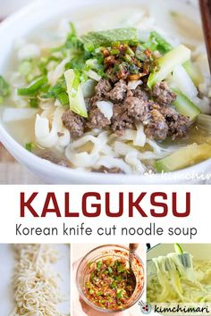 Kalguksu (Korean Knife Cut Noodle Soup) is light yet comforting and satisfying noodle soup. It's perfect for a cold wintery day but also a popular summer dish for many in Korea. Includes how to make your own incredible noodles at home. Great fun activity to do with your family! #homemadenoodles #koreanfood #noodlesoup #asianfood #noodlerecipe #kimchimari Asian Recipes, Healthy Recipes, Ethnic Recipes, Asian Desserts, Kitchen Recipes, Cooking Recipes, Summer Dishes, Korean Food, Korean Dishes