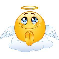 Emoticono cara sonriente con aureola: Comunica inocencia o bondad. Puede utilizarse en serio o de manera irónica.