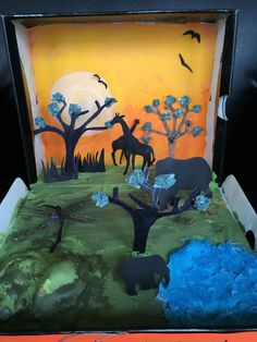 Consider making your biome poster a model instead! Savanna Biome, Savanna Grassland, Grassland Biome, Grassland Habitat, Shoe Box Diorama, Diorama Kids, Animal Projects, Projects For Kids, Art Projects