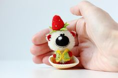 Mr Strawberry  OOAK Collectible Miniature teddy bear  Friend