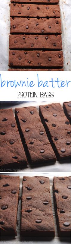 Fudgy Brownie Batter Protein Bars -- these are SO chocolaty & taste like dessert! Only 76 calories & almost of protein!Clean-Eating Fudgy Brownie Batter Protein Bars -- these are SO chocolaty & taste like dessert! Only 76 calories & almost of protein! Healthy Protein Snacks, Protein Desserts, Healthy Baking, Healthy Desserts, Paleo Protein Bars, Protein Cake, Soy Protein, Protein Foods, Clean Protein Bars
