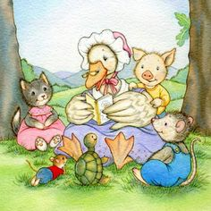 Mother Goose reading some stories to her little animal friends. :)