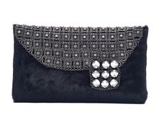 Kenny Ma's Black Beauty Pony Hair & Crystal Mesh Clutch