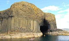 The island of Staffa in Scotland is probably best known for its unique geological features, such as the many caves and the unique shape of the basalt columns which are also found in the Giant's Causeway. Fingal's Cave, Sea Cave, Basalt Columns, Little Island, British Isles, Dream Vacations, Bouldering, Places To See, Monument Valley