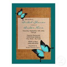 Pretty blue butterflies and burlap bridal shower invitations.