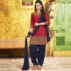 Beautiful Red Cotton Patiala