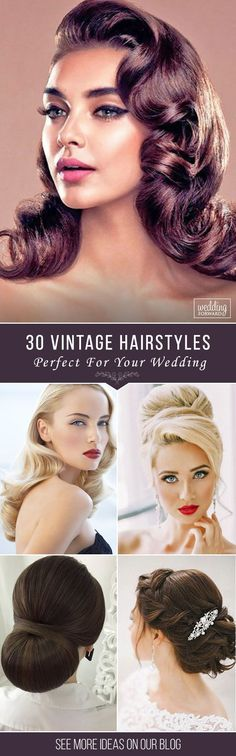 30 Utterly Gorgeous Vintage Wedding Hairstyles ❤ From 20s Gatsby style and sensational 60s chignons to retro 50s rolls, vintage wedding hairstyles come in all shapes and sizes and they are perfect. See more: http://www.weddingforward.com/vintage-wedding-hairstyles/
