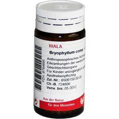 BRYOPHYLLUM COMP.Globuli:   Packungsinhalt: 20 g Globuli PZN: 08784685 Hersteller: WALA Heilmittel GmbH Preis: 5,99 EUR inkl. 19 % MwSt.…
