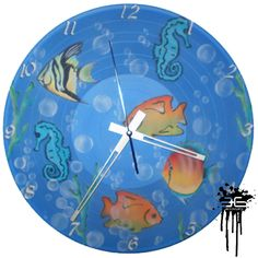 Aquarium - Wall Clock on LP Record / Vinyl...  Painted with techniques of the Graffiti & Stencil.