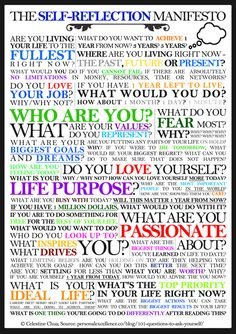 I have this printed and posted... look at every question and be inspired by who you are and where you're going- I am!