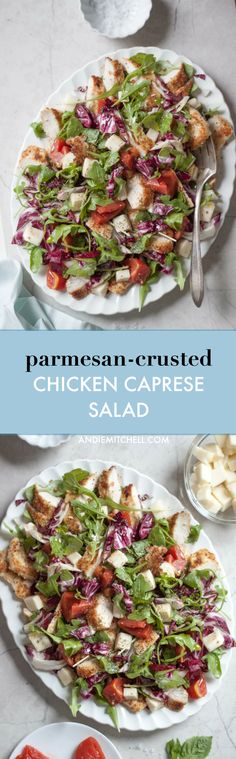 Parmesan Crusted Chicken Caprese Salad Recipe - made with arugula, radicchio, mozzarella, Tuttorosso tomatoes, and topped with chicken cutlets breaded with almond meal / almond flour, Parmesan, garlic, and basil!