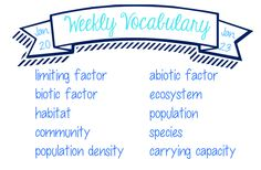 Weekly Vocabulary - 8.L.3.1 - Abiotic and Biotic Factors