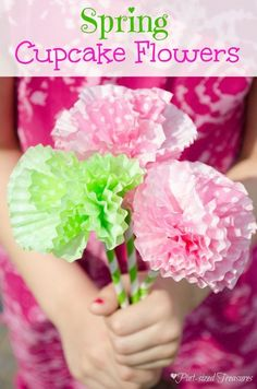 DIY paper flowers made from cupcake liners -- so cute, so simple and so versatile!Enjoy making this paper flower craft with your kids to brighten up rooms in your home or just to have fun! Easy kids crafts are the best!