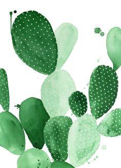 Green Paddle Cactus II Art Print, cactus art, cactus poster, cactus trend, cacti…