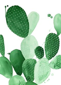 Green Paddle Cactus II Art Print, cactus art, cactus poster, cactus trend, cacti trend, urban jungle trend, botanic trend, plant trend, modern wall art, contemporary art print