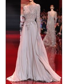 2014 Light Grey Long Sleeves Formal Prom Gown With Beading