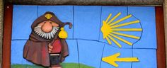 Pilgrim sign above a shop in Santiago de Compostela close up