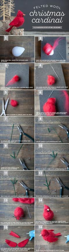 How to Make a Needle-Felted Cardinal Bird - Lia Griffith Make your own gorgeous felt cardinal bird to symbolize hope, joy, love, focus and energy. The perfect DIY tutorial by handcrafted lifestyle expert Lia Griffith Wool Needle Felting, Needle Felting Tutorials, Needle Felted Animals, Wet Felting, Felt Animals, Felted Wool Crafts, Felt Crafts, Weinachts Diy, Easy Diy
