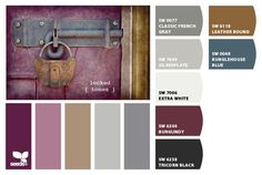 Burgundy, plum, gray color palette