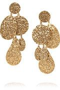 Oscar De La Renta - Hammered gold-plated clip earrings - Love these, gotta have them!!!