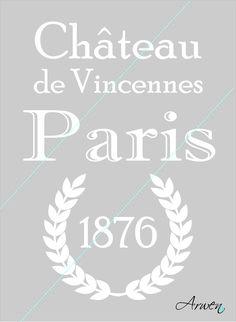 """Šablona - """"CHATEAU""""  """"CHATEAU DE VINCENNES"""" - Zámek de Vincennes Dekorační vyřezávaná šablonaje vyrobena z pevné a nepropustné samolepicí PVC fólie. Lze použít na dřevo, sklo, textil, plasty,... Jestli rádi tvoříte, můžete si pomocí této šablony dekorovat ubrusy, záclony, prostírání, zástěry, utěrky, polštáře; tácy, květináče a také nábytek. Tato šablona ..."""