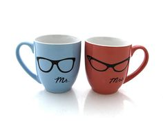 Mr. and Mrs. Mugs his and hers set  with nerdy glasses by LennyMud - eight eyes are better than four!  #wedding gift #nerds
