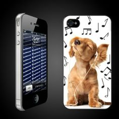 """Made for iPhone4 or 4s, Verizon or At Phones.  Black plastic protective iPhone cover.  Image size on back side of cover is 4.5"""" x 2.25"""".  iPhone Hard Case - CLEAR Protective iPhone 4/iPhone 4S Case.  Puppy fans and all dog lovers will love our fun and unique iphone cases!  This design features a cute puppy jamming to music!"""