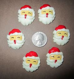 6 NEW SANTA CLAUSE CHRISTMAS FLAT BACK RESINS
