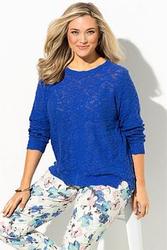 Plus Size Women's Fashion - Sara Textured Sweater.  Great color for fall too. Change out the pants. Add a scarf...