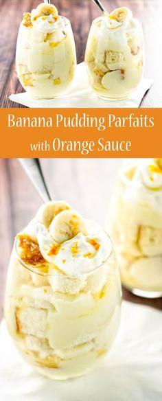 Creamy homemade pudding layered with soft, sweet pound cake, fresh banana, and a bright orange sauce | girlgonegourmet.com