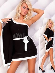 Color Block Belted One-Shoulder Spandex Womens Club Dress - Milanoo.com
