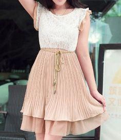 Women 's One-Piece Pleated Chiffon Lace Dress