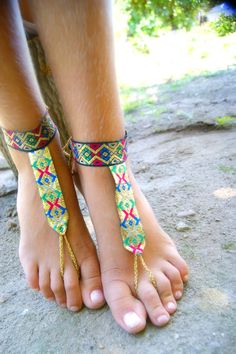 Foot jewelry/ Native gold BAREFOOT sandles/ gypsy barefoot sandal/ boho gold barefoot thongs/ anklet jewelry foot thongs bottomless shoes
