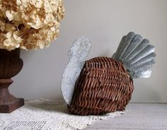 Vintage Turkey Wicker and Tin Turkey #ThanksgivingDecor #ThanksgivingCenterpiece by gazaboo