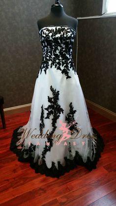 Gorgeous Black and White Wedding Dress by WeddingDressFantasy