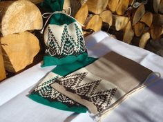 Christmas gift bags from grey linen and green cotton by MilaStyle, $16.00