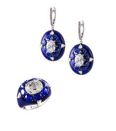 18k white gold, inlaid lapis lazuli, sapphire & diamond demi-parure // bogh-art