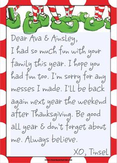 elf on the shelf good bye letter | Elf On The Shelf | realhousewifehouston