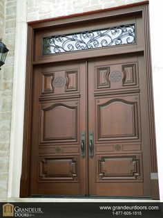 Custom wood double door by Grandeur Doors www.grandeurdoors.com