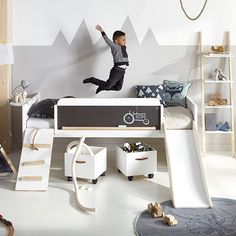 LIMITED EDITION PLAY, LEARN & SLEEP BED by Lifetime   Scandi Style Kids Room   Nordic Kids Bedroom   Fun Kids Bed   Alpine Themed   Mountain Wall Art