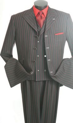 Mens Black Red Stripe Gangster Style Zoot Suit by Vittorio St. Angelo  HGS34V