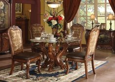 ac60010 - Delmar Cherry Oak Solid Wood and Tapestry Fabric Standard Height Five Piece Pedestal Dining Set - Inland Empire Furniture