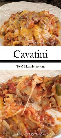 A MUST TRY! Cavatini--pasta, beef, pepperoni, sauce, cheesy goodness! Yes, please!