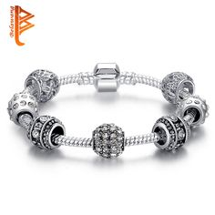 Fashion Women Bracelet Silver Plated Crystal Bead Charm Bracelet For Women Christmas Jewelry Original Bracelets Gift PS3005 <3 Click the image to find out more