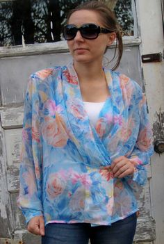 FLORAL and FLOWY Vintage 80s Sheer SECRETARY Blouse by menseridge, $18.00