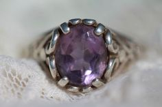 Vintage 925 Sterling Silver & Bright Amethyst Ring by Kabana size 7