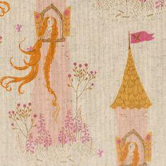 Sale - FQ Heather Ross Far Far Away 2 Princess Rapunzel Castle Cotton Linen Fabric on Etsy, $12.95